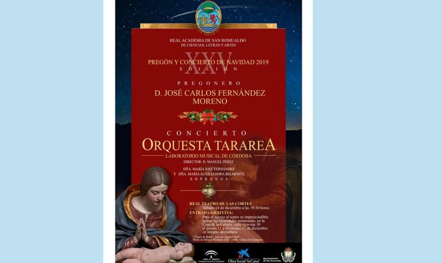 Pregón de la Navidad y Concierto el sábado 14 de diciembre en el Real Teatro de las Cortes