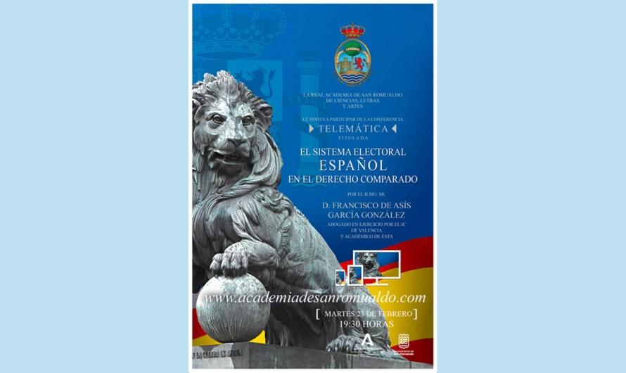 Próxima conferencia el martes 23 de febrero: 'El sistema electoral español en el Derecho Comparado'
