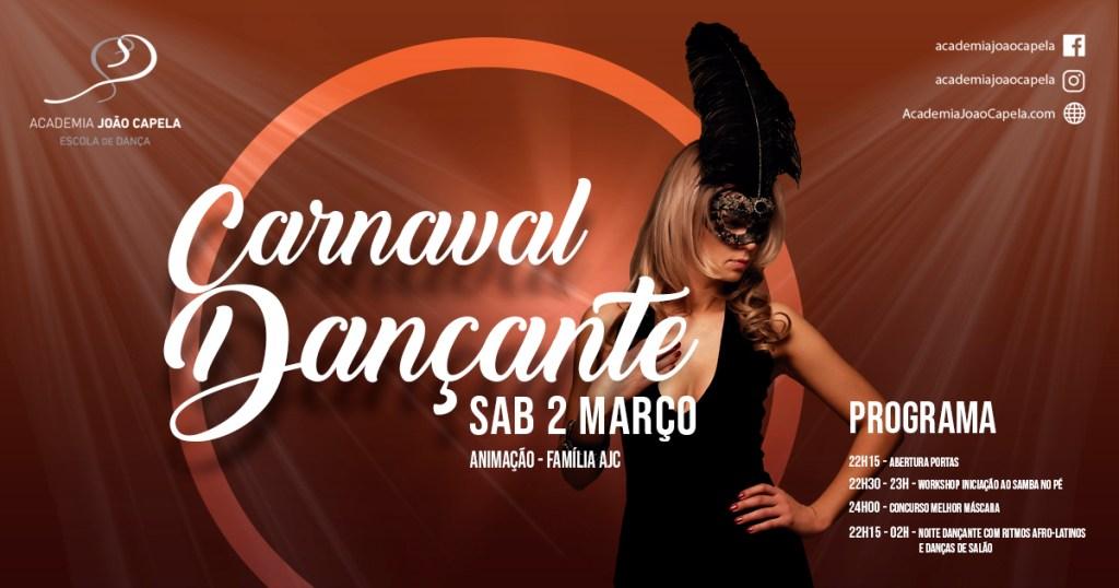 Carnaval Dançante - Workshop Samba no Pé e Concurso Melhor Máscara - 2 Mar 2019 - Academia João Capela Barcelos - Danças de Salão e Ritmos Afro Latinos Salsa Kizomba Bachata