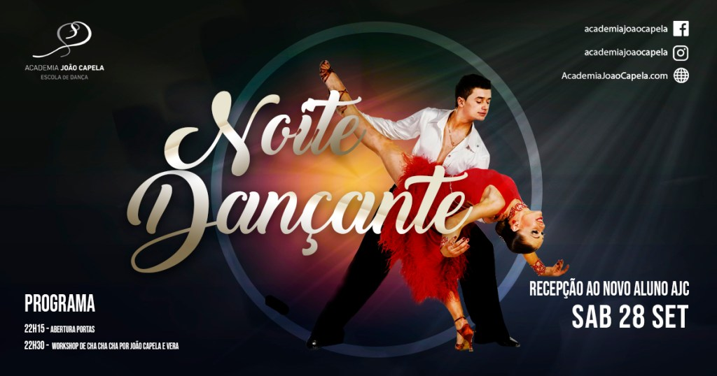 Noite Dançante com Workshop de Cha Cha Cha 28 Setembro Barcelos