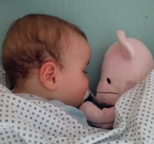 Bebé dorme com o seu ursinho