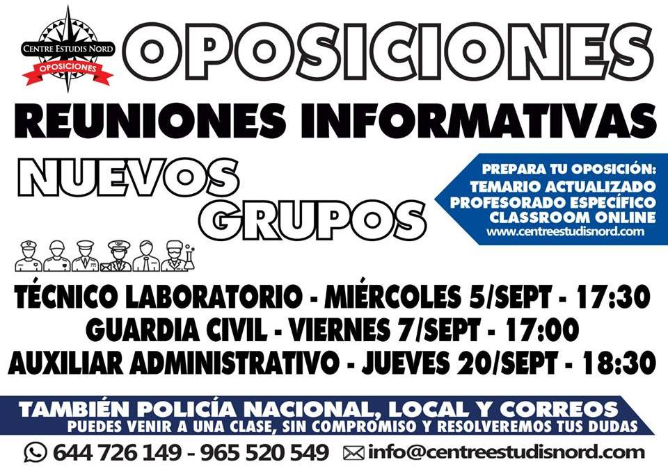 Reuniones informativas nuevos grupos oposiciones septiembre 2018