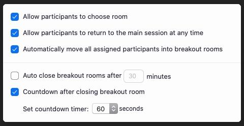 breakout room settings in Zoom