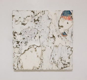 Erik Sommer, Mascara, 2015, gesso, oil, acrylic, paste, cement on canvas, 36 x 36 in