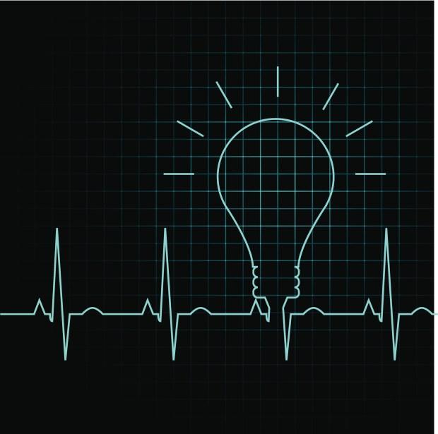 EKG rhythm with light bulb