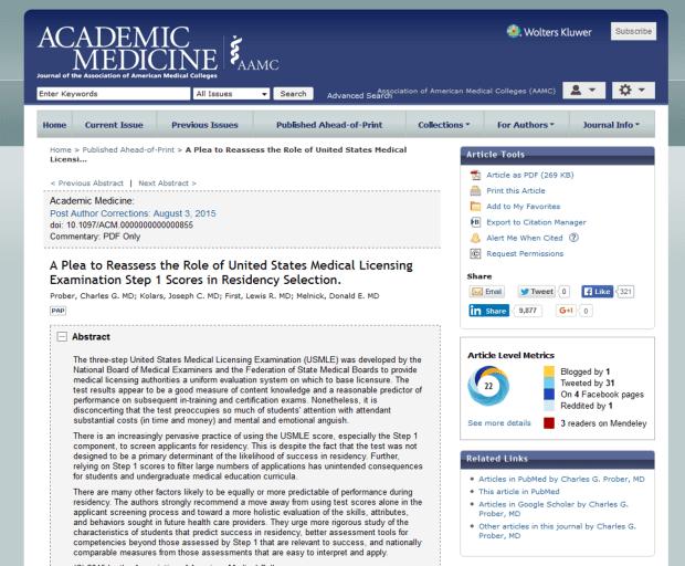 academicmedicine.org full page screenshot