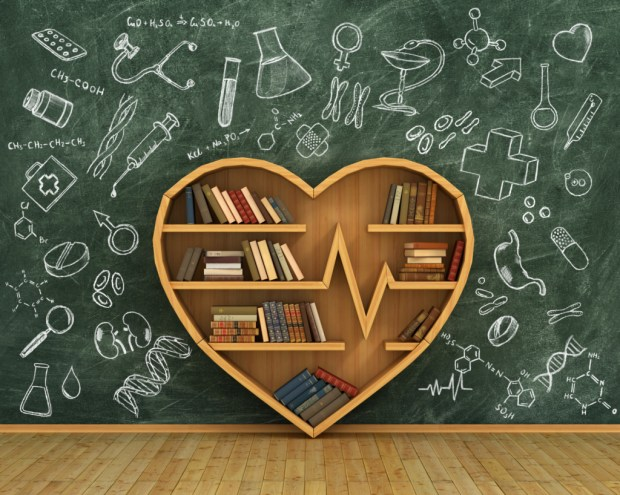 heart bookshelf and EKG