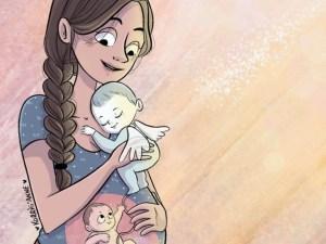 femme tenant un ange dans ses bras et un bébé dans son ventre