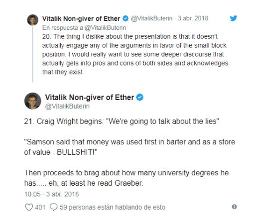 Vitalik Buterin no cree que Craig S. Wright sea Satoshi Nakamoto