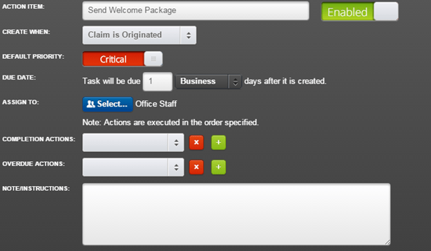 Create an Action Item to Send Welcome Package and related tasks.