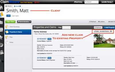 Adding New Claim To Existing Client Property