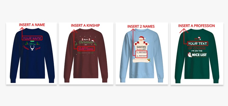 POD Moteefe Winter Contest Tips and Tricks: four examples of customisable text for ugly Christmas jumpers with mass appeal
