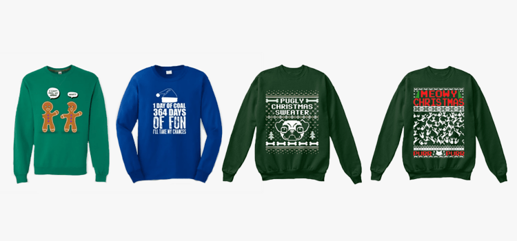 POD Moteefe Winter Contest Tips and Tricks: four examples of ugly Christmas jumper designs