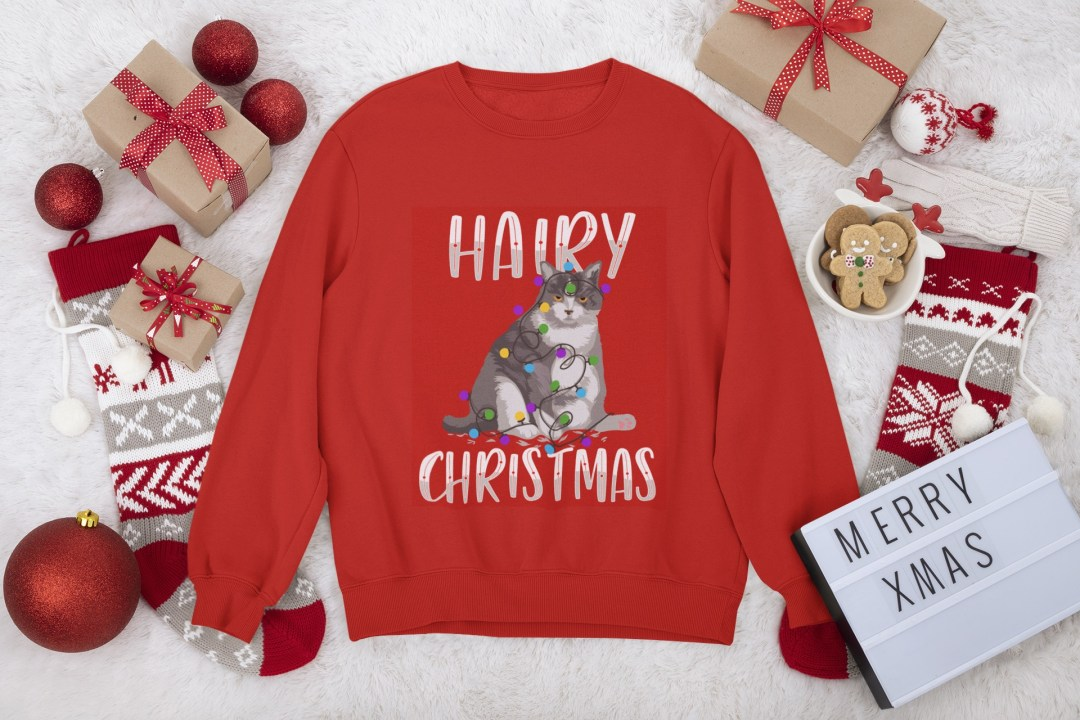 Selling ugly Christmas sweaters: Hairy Christmas cat sweater