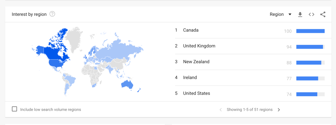 Best niches for Print on Demand: Google Trends worldwide interest in 'Skiing' as a search term by geographical area
