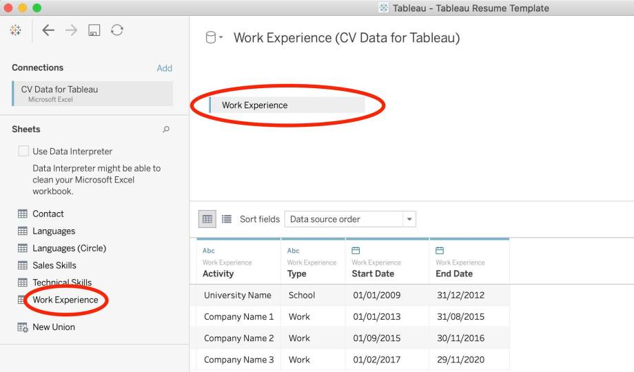 Free Tableau Template Download - select data