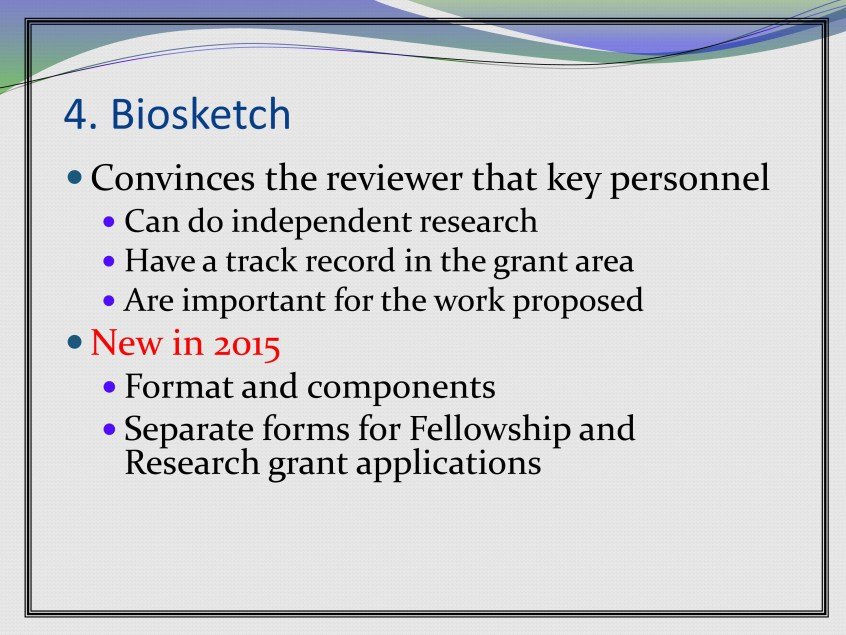 Grantsmanship: NIH Biosketch, 2015 Update – ASHA Journals