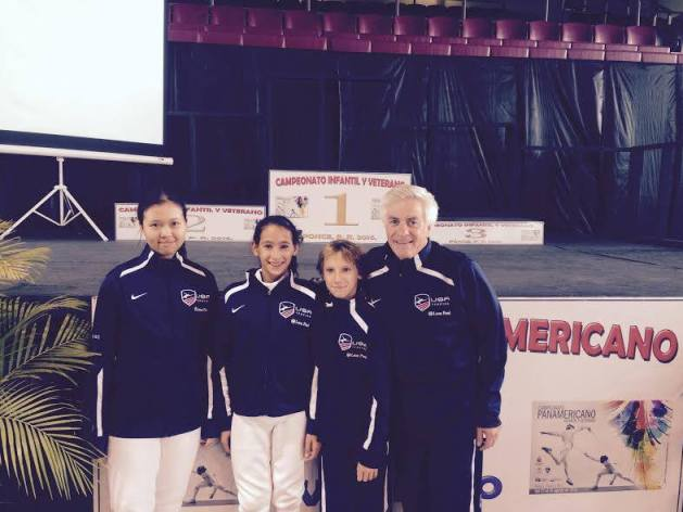 AFM fencers at Pan American Youth and Veteran Fencing Championship in Puerto Rico August 2016. From left to right - Andrea Leang, Leehi Machulsky, Adam Chirashnya and Alan Buchwald