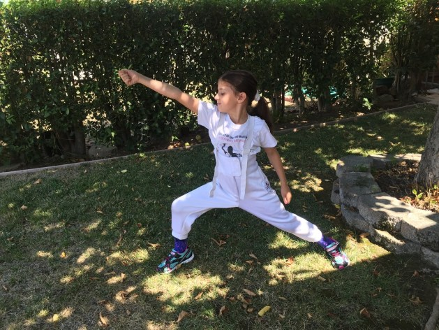 Practicing fencing footwork at the backyard