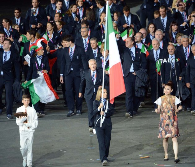 Valentina Vezzali - Italian Flag Bearer in London 2012 Olympic Games Opening Ceremony