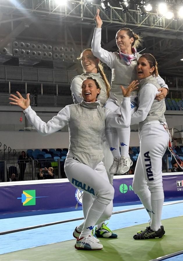 Rio de Janeiro, April 26, 2016 - Fencing World Championship in Team Women's Foil: Valentina Vezzalil, Arianna Errigo, Elisa Di Francisca, Martina Batini. Photo by Augusto Bizzi