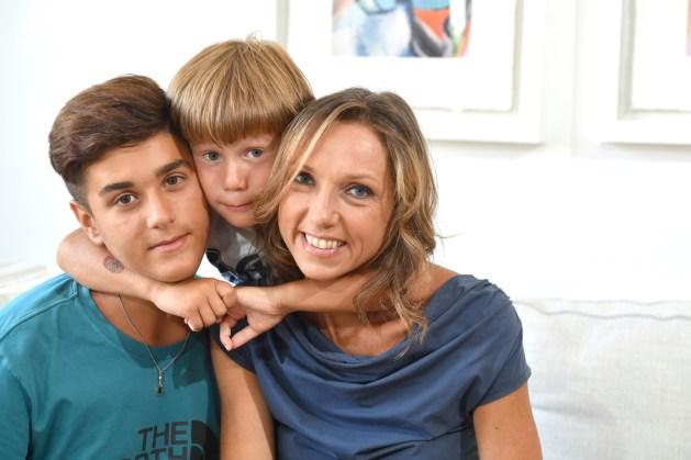 Valentina Vezzali with sons Pietro and Andrea. Photo Augusto Bizzi