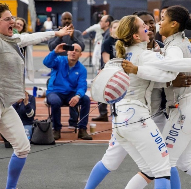 Iman Blow and Columbia Fencing Team
