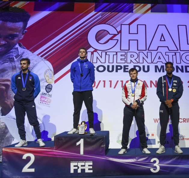 Nick Itkin at the top of the Podium at the 2020 Challenge International de Paris, the most prestigious Men's Foil World Cup