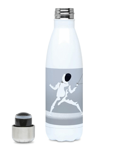 water bottle with a fencer on it