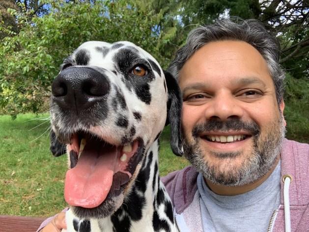 Karim Bashir with his lovely dalmatian named D'Artagnan
