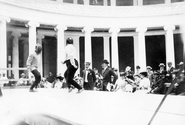 Fencing Match at the First Olympic Games in 1896 in Athens, Greece