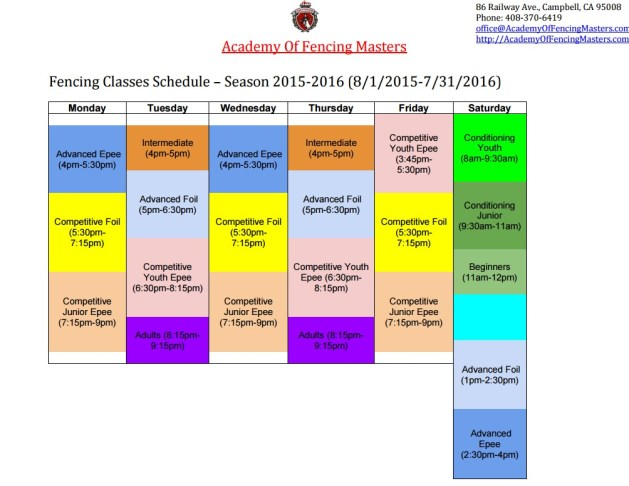 AFM 2015-216 Classes Schedule