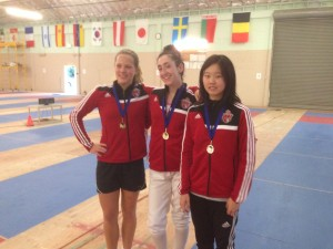 AFM Fencers Swept the Gold at 3 Bay Cup Women Epee Competitions in Cadet, Junior and Senior Categories. In the picture (left to right): Anya Harkness with Gold for Junior Women's Epee, Taly Yukelson with Gold for Senior Women's Epee and Nancy Zhang with Gold for Cadet Women's Epee