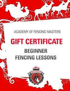 Christmas Gift Certificate: Beginner Fencing Lessons - a unique holiday gift for friends of any age
