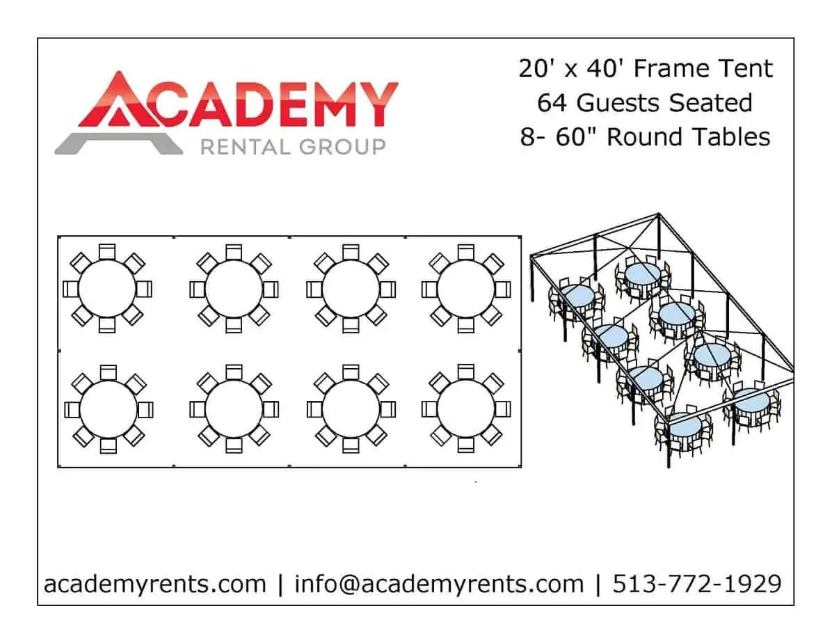 20x40 Frame Tent 64 Guests Academy Rental Group