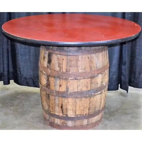Round whiskey barrel table rental