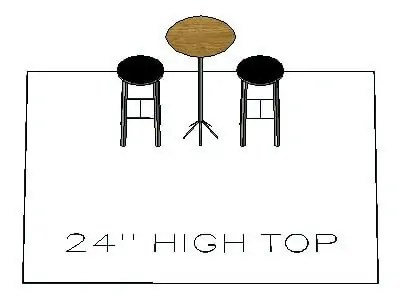 How many chairs fit around a 24inch high top table