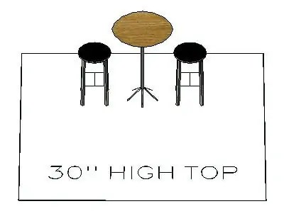 How many chairs fit around a 30 inch high top table