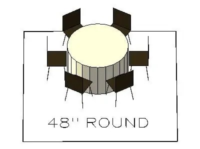 How many chairs fit around a 48 inch round table