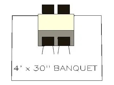 How many chairs fit around a 4 ft banquet table