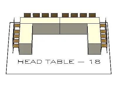 Head Table Layout for 18 people