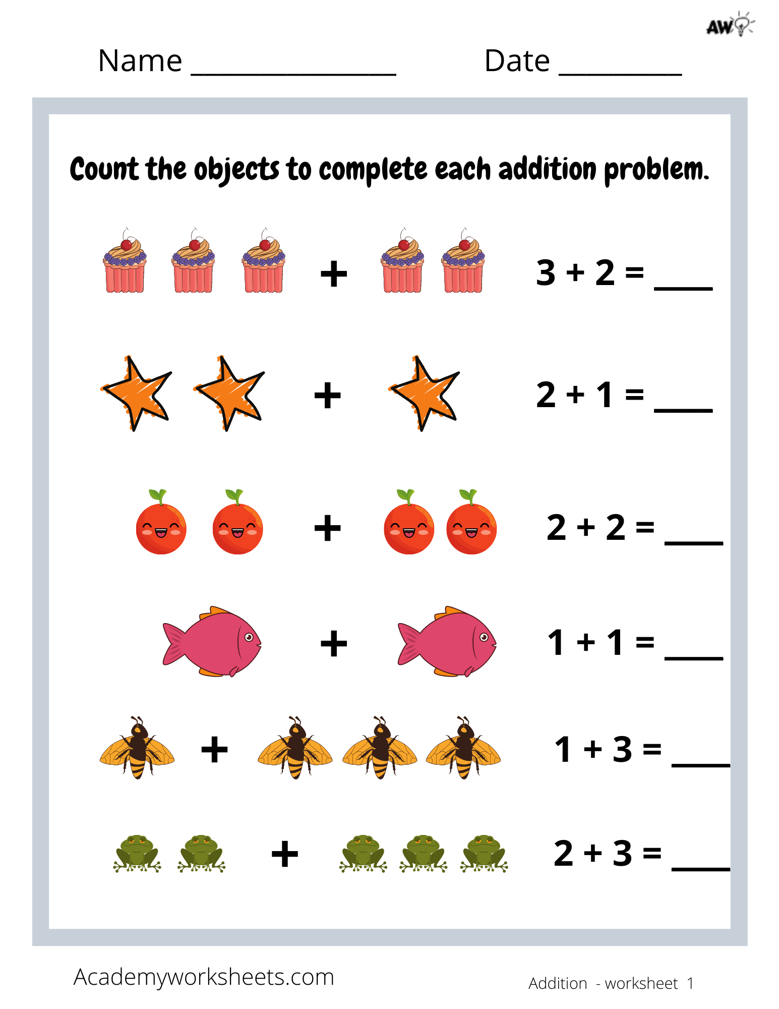 Addition Sums To 5 With Pictures