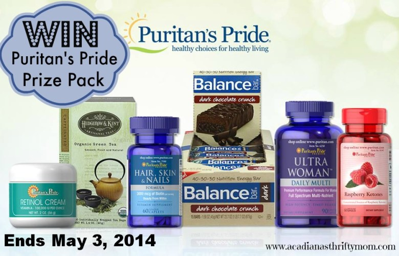 Puritan's Pride Prize Pack Giveaway ends 5/3