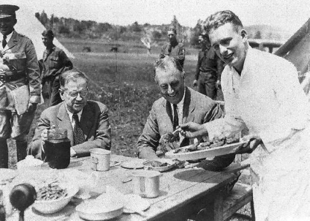 Franklin Delano Roosevelt at a CCC camp