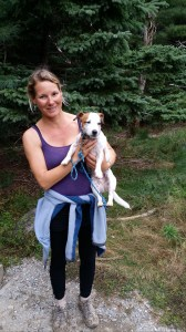 Nicole Ramos likes to hike in Acadia with her Jack Russell Terrier