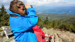 Angi King Johnston, science associate at the Schoodic Institute, leads hawk watch at Acadia National Park