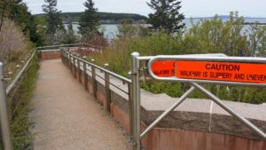 Accessible ramp at parking lot for Thunder Hole in Acadia National Park