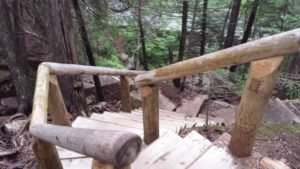 A new stairway on the Deer Brook Trail in Acadia National Park