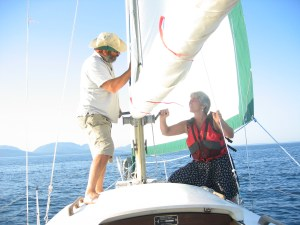 John and Cornelia Cesari sail off the coast of Baker Island in Acadia National Park