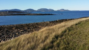 View of Acadia National Park mountains from Baker Island.